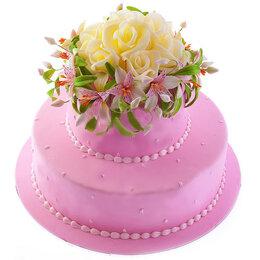 Аксессуары - Свадебный торт в два яруса украшенный бусами и…, 0