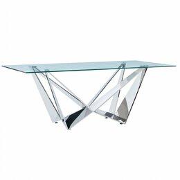 Столы и столики - Обеденный стол стеклянный 200 см серебро ESF, 0