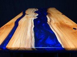 Столы и столики - Стол-река из карагача или дуба с эпоксидной смолой, 0