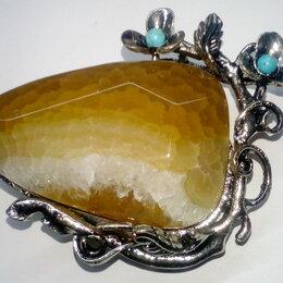 Броши - Брошь Агат, натуральный камень 4,5х3х1 см, 0