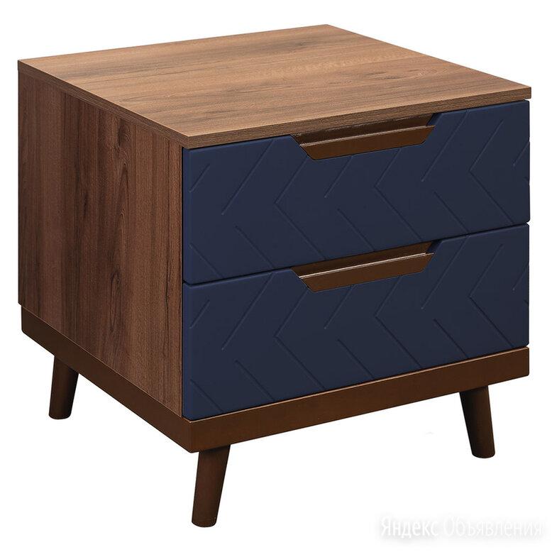 """Прикроватная тумбочка деревянная с синими фасадами """"Сканди Сапфир"""" по цене 13900₽ - Тумбы, фото 0"""