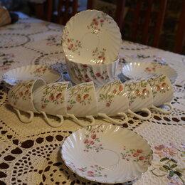 Кружки, блюдца и пары - 6 чайных пар. Силезия. XIX век. Луи Левинсон, 0