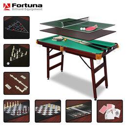 Настольные игры - Игровой стол FORTUNA русская пирамида 4 фута 9 в 1 с комплектом аксессуаров, 0