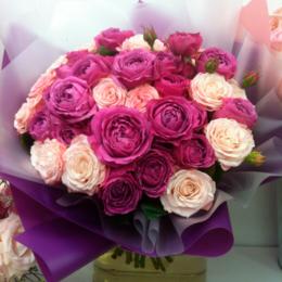Цветы, букеты, композиции - Флорико Букет пионовидных роз Барби, 50 см, 0