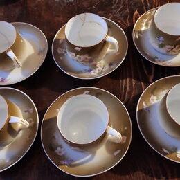 Кружки, блюдца и пары - 6 чайных пар, фарфор Гарднер, 0