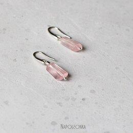 Серьги - Серьги с розовым кварцем. Серебро 925 пробы …, 0