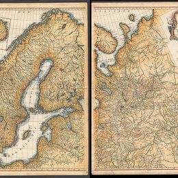 Гравюры, литографии, карты - Гравированная кабинетная карта 1758 года России и северных стран S6710, 0
