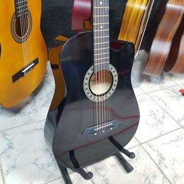 Акустические и классические гитары - Гитара глянецевая черная с анкeром Новая, 0