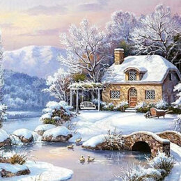 Раскраски и роспись - Картина по номерам на холсте -зимняя речка, 0