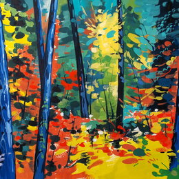 Картины, постеры, гобелены, панно - Осени яркий наряд. Гуашь. Осень,яркий,лес,пейзаж,картина, 0