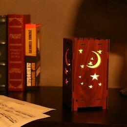 Ночники и декоративные светильники - Деревянный ночник со звездами и луной, 0