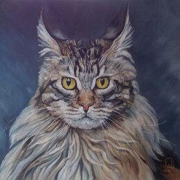 Картины, постеры, гобелены, панно - Кот-сибиряк. Масло,картина. Кошка,природа,звери, 0