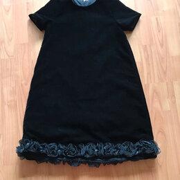Платья и сарафаны - Нарядное чёрное бархатное платье по подолу розы (на 8 лет) , 0