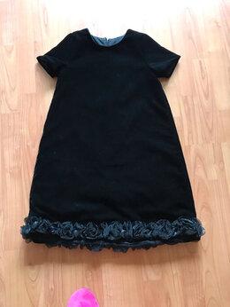 Платья и сарафаны - Нарядное чёрное бархатное платье по подолу розы…, 0