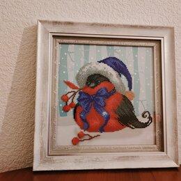 """Картины, постеры, гобелены, панно - Картина бисером """"Новогодний снегирь"""", 0"""