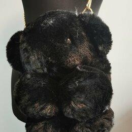 Клатчи - Меховая Сумочка Медвежонок черный, 0