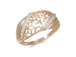 Кольца и перстни - Кольцо с 22 фианитами из красного золота, 0