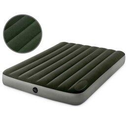 Круги и матрасы  - Надувной матрас велюровый серый с помпой 152х203х27, 0