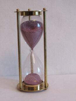 Часы настольные и каминные - часы песочные  15 мин (19 см ) латунь,новые, 0