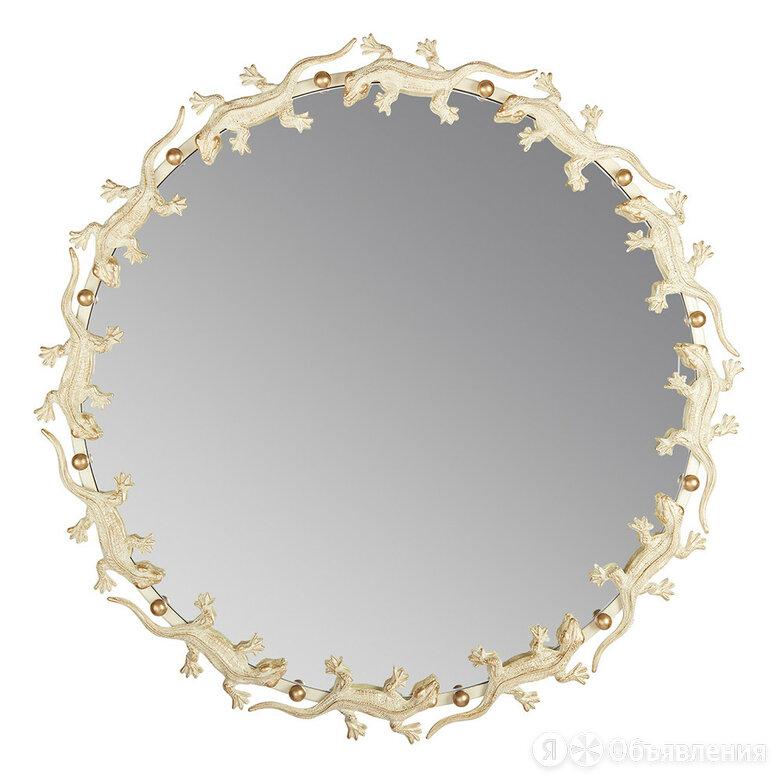 """Зеркало настенное круглое белое золото """"Ящерицы"""" по цене 28900₽ - Зеркала, фото 0"""