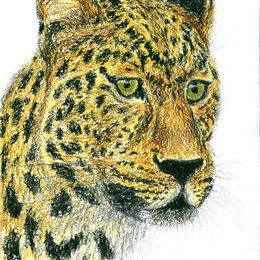"""Картины, постеры, гобелены, панно - Рисунок """"Леопард"""" картина масляная пастель бумага 29,7х21 см Гаврилин Е.Г., 0"""
