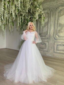 Платья - Нежное блестящее стильное свадебное платье, 0