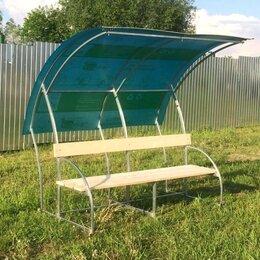 Столы - Лавочка с навесом Агросфера Ландыш, СПК 4мм Синий, Сухая обрезная доска, 0