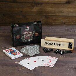 Настольные игры - Подарочный набор 2 в 1 Крутого НГ, домино, карты, 0