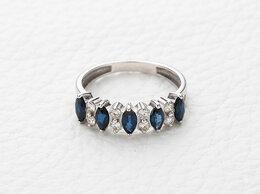 Кольца и перстни - Кольцо с 5 сапфирами и 8 бриллиантами из белого…, 0