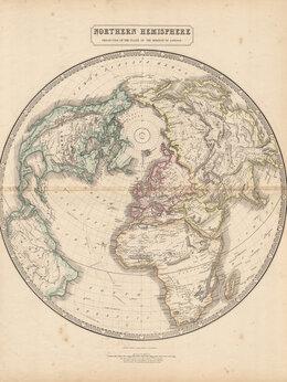 Гравюры, литографии, карты - 1848-51 год. Гравюра, акварель, Карта северного…, 0