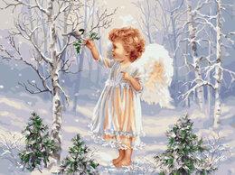 Картины, постеры, гобелены, панно - Картина по номерам Ангелочек и зимняя пташка 40*50, 0