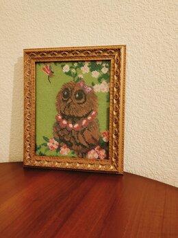 """Картины, постеры, гобелены, панно -  Картина бисером """"Весенняя совушка"""", 0"""