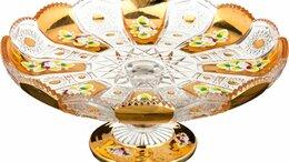 Кондитерские аксессуары - Тортовница на ножке стеклянная золотая 27 см…, 0