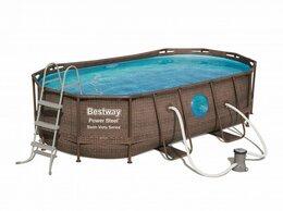 Бассейны - Каркасный овальный бассейн ротанг 427х250х100см,…, 0