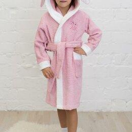 Домашняя одежда - Халат махровый детский Зайчик, с капюшоном, рост 92-122 см розовый/белый (110..., 0