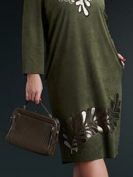 Платья - Замшевое платье со вставкой из  кожи. Размер 58-64, 0