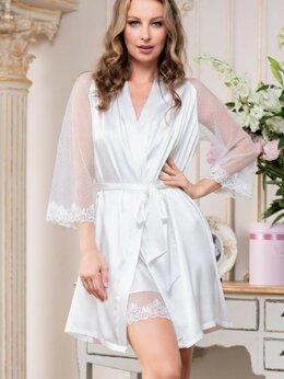Домашняя одежда - Романтичный запашной халат Eva с кружевом, 0