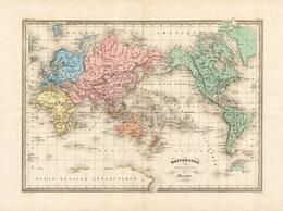 Гравюры, литографии, карты - 1860-ые гг. Карта Мира картографа Конрада…, 0