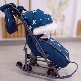 Коляски - Санки-коляска Pikate Звезды Аква с шерст матрсиком , 0