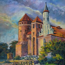 """Картины, постеры, гобелены, панно - Картина """"Замок Решель"""", двп, масло, 35*49 см, 0"""