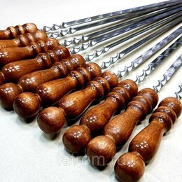 Шампуры - Шампур 50 см с деревянной ручкой , 10 шт, 0