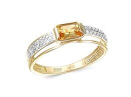 Кольца и перстни - Кольцо с цитрином и 32 фианитами из жёлтого золота, 0