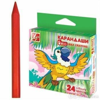 Мелки восковые 24 цв. ЛУЧ «Zoo», шестигранные, картонная упаковка с европодвесом по цене 150₽ - Канцелярские принадлежности, фото 0