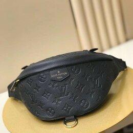 Сумки - Сумка на пояс Louis Vuitton кожаная черная новая, 0