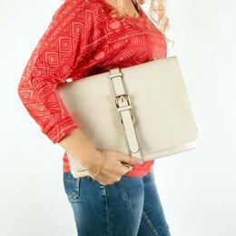 Сумки - Новая молочная сумка планшет из натуральной кожи, 0