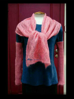 Шарфы и платки - Комплект шарф и митенки из мохера на шёлке, 0