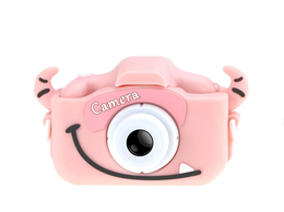 Фотоаппараты - Детский фотоаппарат в чехле с рожками розовый, 0