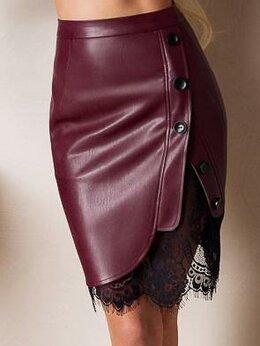 Юбки - Оригинальная кожаная юбка карандаш с кружевом, 0