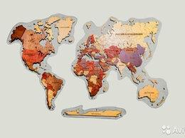 Картины, постеры, гобелены, панно - Деревянная карта мира, 0
