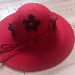 Головные уборы - Шляпа с полями красная с цветами, 0